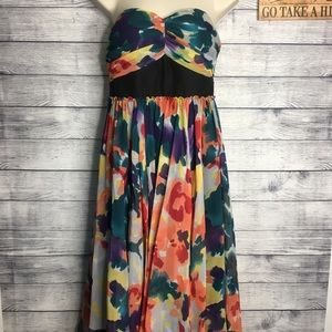 The Limited Floral Watercolor Strapless Dress SZ 4